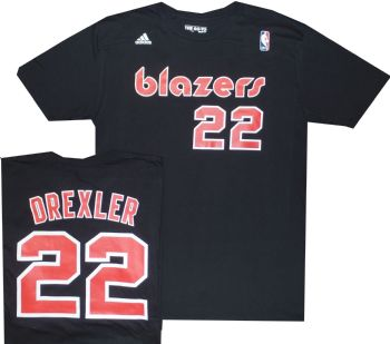 a86b6780c069 Portland Trailblazers Clyde Drexler Adidas Black Throwback T Shirt ...