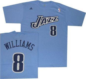 promo code d5775 cc980 Utah Jazz Deron Williams Light Blue Adidas T Shirt Jersey ...
