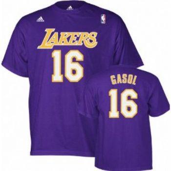 Los Angeles Lakers Pau Gasol Adidas Purple Finals T Shirt Jersey ... e2b7e3822