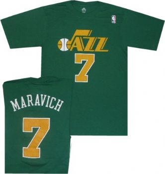 promo code e6d89 74a20 Utah Jazz Pete Maravich Throwback Adidas Green T Shirt ...