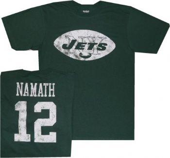 best sneakers f331d 05a78 New York Jets Joe Namath Distressed Print Reebok T Shirt ...