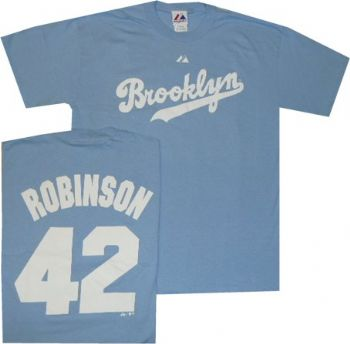 reputable site 7248e b4eea Brooklyn Dodgers Jackie Robinson Throwback T Shirt ...