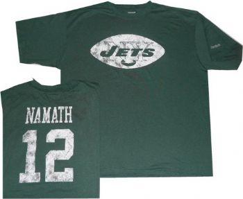 new arrival 13b77 74daa New York Jets Joe Namath Reebok Throwback Pro Style T Shirt ...
