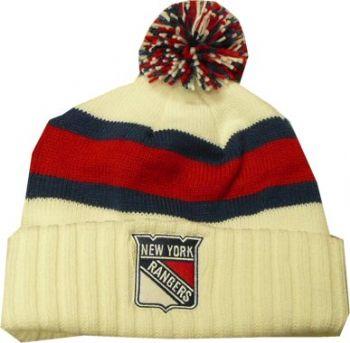 New York Rangers White Throwback Knit Reebok Beanie Pom ... 61079fc945f