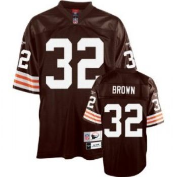 new product 3e81e 7fd63 Cleveland Browns Jim Brown Premier Throwback Reebok Brown ...