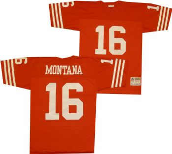 buy online 52887 90ea1 San Francisco 49ers Joe Montana Premier Throwback Mitchell ...