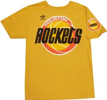 be4d975d2a3 Houston Rockets Vintage Slim Fit Adidas Big Logo Gold T Shirt |  StadiumStyle.com