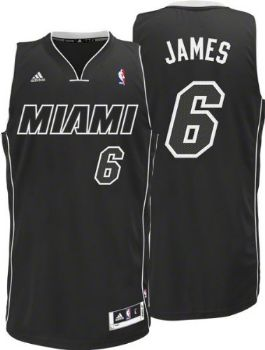 big sale a5fc8 38373 Miami Heat Lebron James Black White Swingman Jersey ...