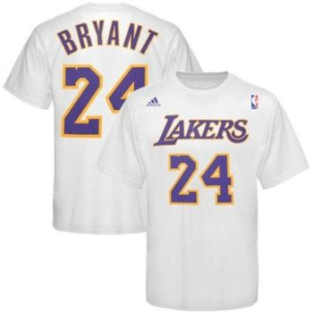 d6b5e1cc883 Los Angeles Lakers Kobe Bryant White Name and Number Adidas T Shirt |  StadiumStyle.com
