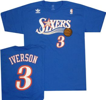 d4d22b0f602 Philadelphia 76ers Sixers Adidas Allen Iverson Throwback Adidas Shirt    StadiumStyle.com