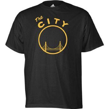 19bdaa4227e Golden State Warriors Vintage The City Logo Adidas Black T Shirt ...