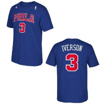 764d53b0da6 Philadelphia 76ers Sixers Adidas Allen Iverson Throwback Blue PHILA T Shirt    StadiumStyle.com