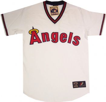 cb291435308 ... Los Angeles Angels Throwback White Replica Majestic Jersey  StadiumStyle.com ...
