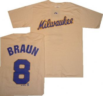 milwaukee brewers ryan braun alternate majestic t shirt. Black Bedroom Furniture Sets. Home Design Ideas