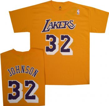 hot sales 34987 93bad Los Angeles Lakers Magic Johnson Adidas Gold T Shirt Jersey ...
