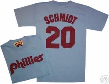 Philadelphia Phillies Mike Schmidt Throwback Blue T Shirt ... 236ec670733