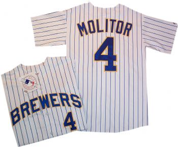 hot sales 8af9a 1e12c Milwaukee Brewers Paul Molitor Home Throwback Jersey ...