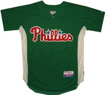 Philadelphia Phillies Authentic St. Patricks Day Cool Base Green Jersey  b5f3f4a9483