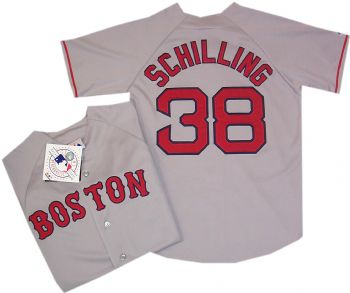 6189a9f5d1a Boston Red Sox Curt Schilling Road Throwback Replica Jersey ...