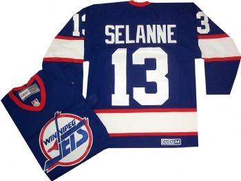 best website e26f8 c9b89 Teemu Selanne Winnipeg Jets Vintage Throwback Blue Jersey ...