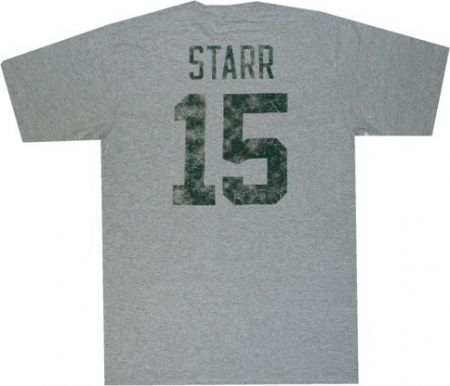 Green Packers Bart Starr Reebok Throwback Distressed T Shirt ... f14e23a8c