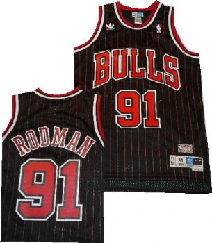 Chicago Bulls Dennis Rodman Throwback Swingman Adidas Black Jersey ...